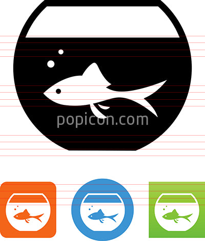 Goldfish In Fish Bowl Icon