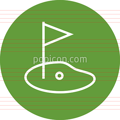 Golf Course Hole Green Outline Icon
