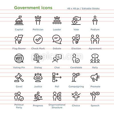 Government Icons - Outline