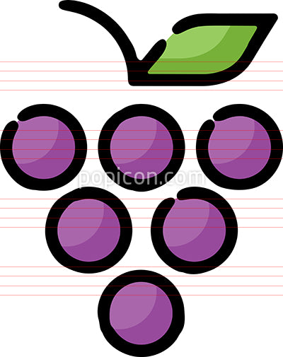Grape Cluster Hand Drawn Icon