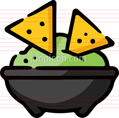 Guacamole Chips Hand Drawn Icon
