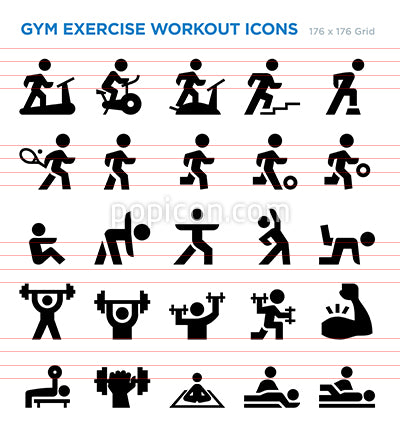 Gym Exercise Workout Vector Icon Set