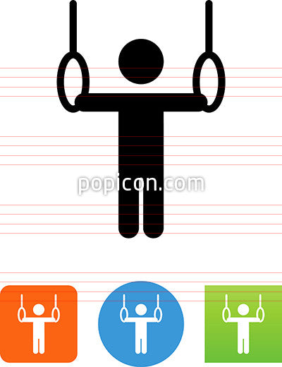 Gymnast Competing On Rings Icon