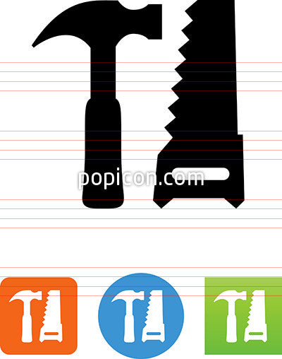 Hammer And Handsaw Tools Icon