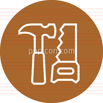 Hammer Saw Tools Outline Icon