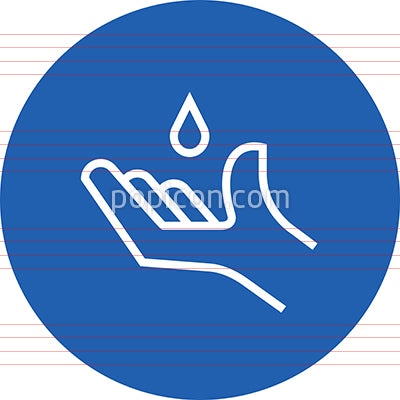 Hand With Sanitizer Droplet Outline Icon