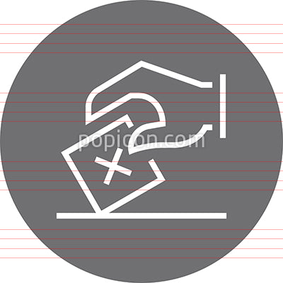 Hand Casting Ballot Voter Outline Icon