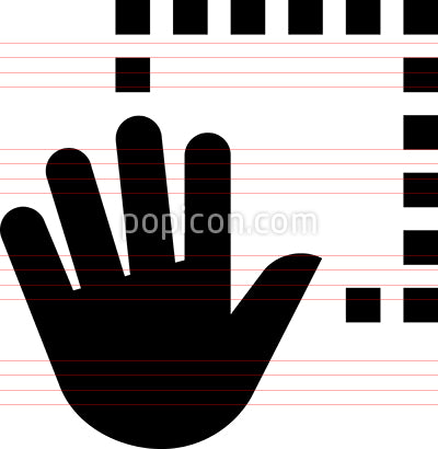 Hand Gesture Grab Dashed Line Vector Icon