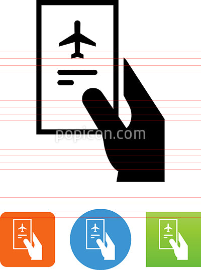Hand Holding Airline Ticket Icon