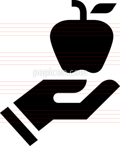 Hand Holding Apple Health Diet Vector Icon