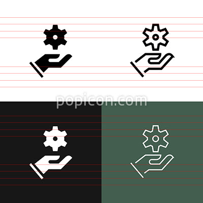 Hand Holding Gear Icon Set