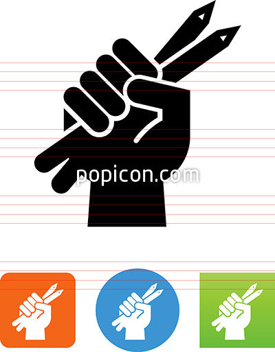Hand Holding Pencils Icon