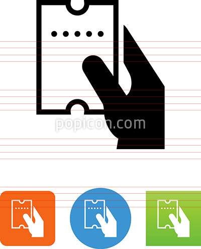 Hand Holding Perforated Ticket Icon