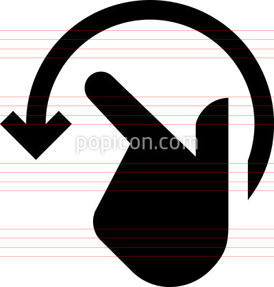 Hand Rotate Left Vector Icon