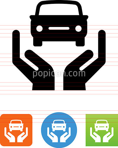 Hands Holding Car Icon