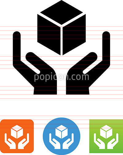 Hands Holding Cube Icon