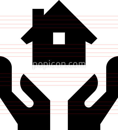 Hands Holding Home Vector Icon