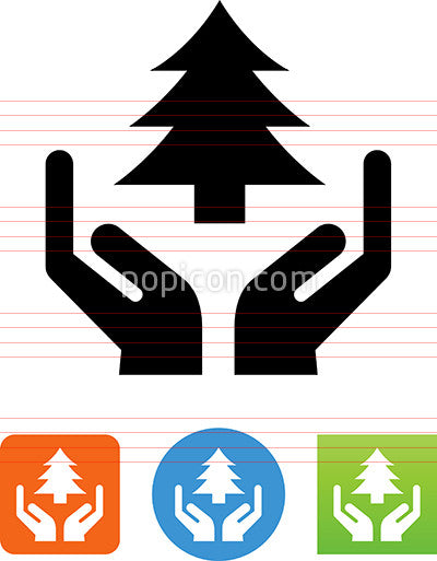 Hands Holding Pine Tree Icon