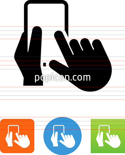 Hands Using Touch Screen Icon