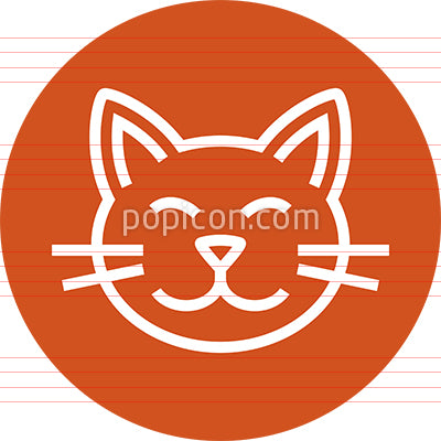 Happy Cat Head Outline Icon