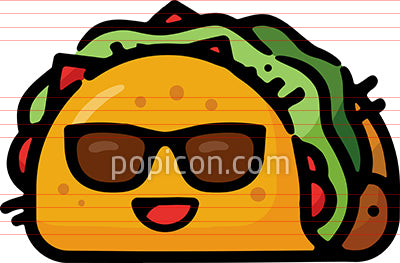 Happy Taco With Sunglasses Hand Drawn Icon