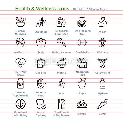 Health And Wellness Icons - Outline