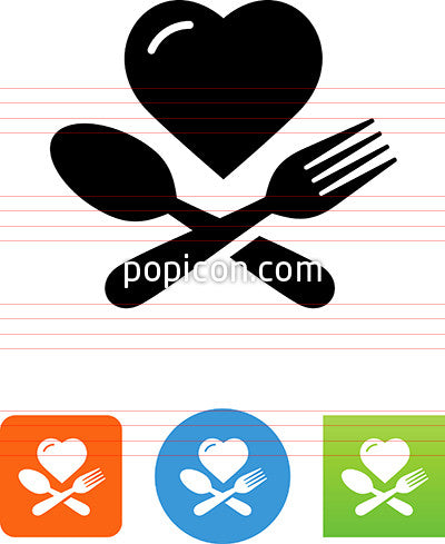 Heart With Fork And Spoon Icon