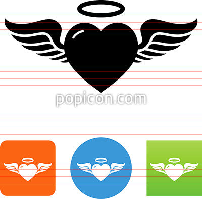 Heart With Wings And Halo Icon Popicon