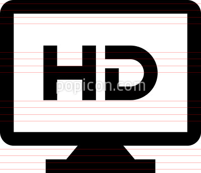 High Definition TV Monitor Vector Icon
