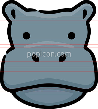 Hippo Head Hand Drawn Icon