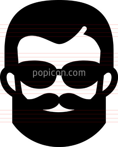 Hipster With Beard And Sunglasses Icon