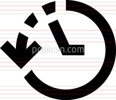 History Clock Dashed Line Vector Icon