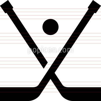 Hockey Sticks Puck Vector Icon