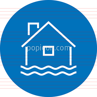Home Flood Water Disaster Outline Icon