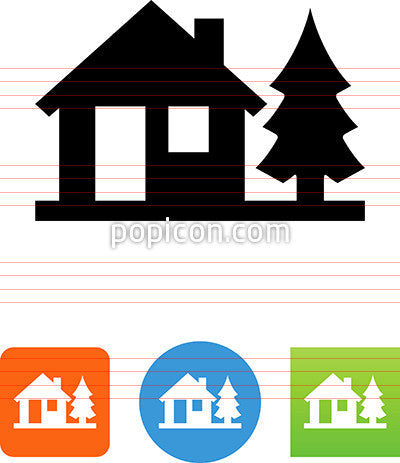 Home And Pine Tree Icon