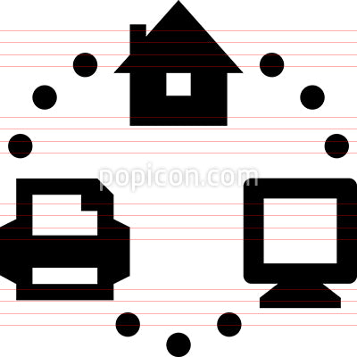 Home Office Network Vector Icon
