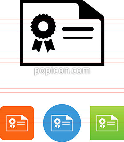 Horizontal Document With Seal Icon