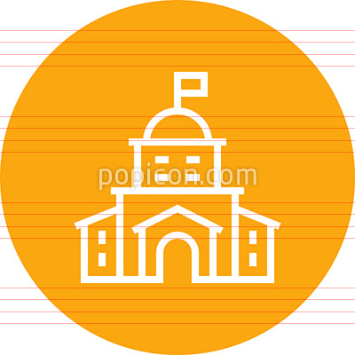 Hotel Resort Building Outline Icon
