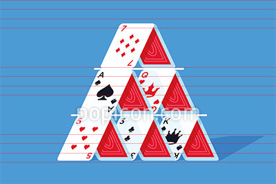 House Of Cards Pyramid Tower Illustration