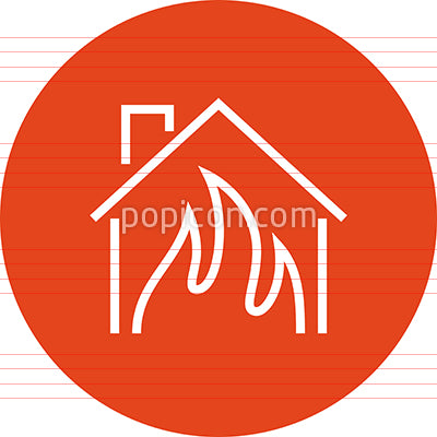 House On Fire Outline Icon
