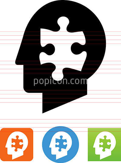 Human Head With Puzzle Piece Icon