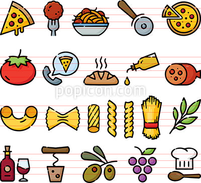 Italian Foods Hand Drawn Icon Set