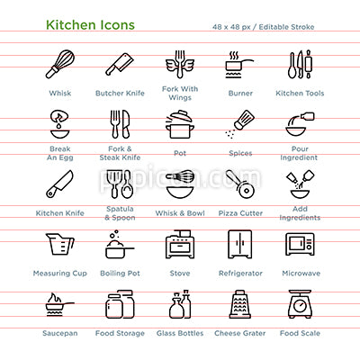 Kitchen Icons Outline