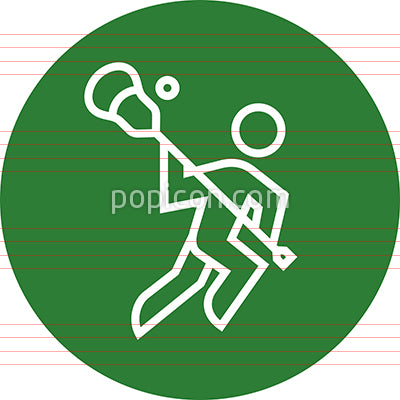 Lacrosse Player With Stick And Ball Outline Icon