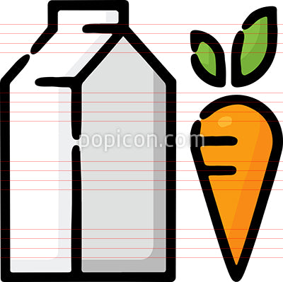 Lacto Vegetarian Milk Carrot Hand Drawn Icon