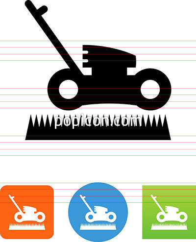 Lawn Mower With Grass Icon