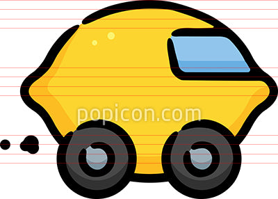 Lemon Car Hand Drawn Icon