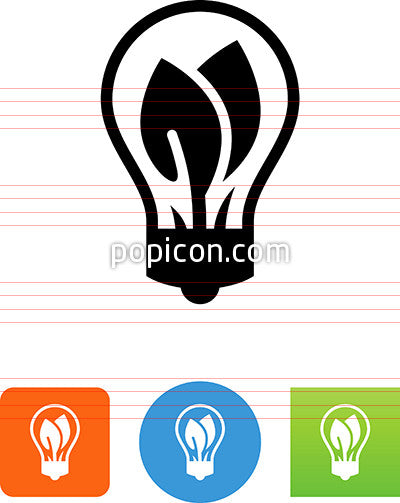 Light Bulb With Two Leaves Icon
