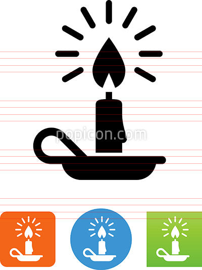 Lighted Candle With Holder Icon
