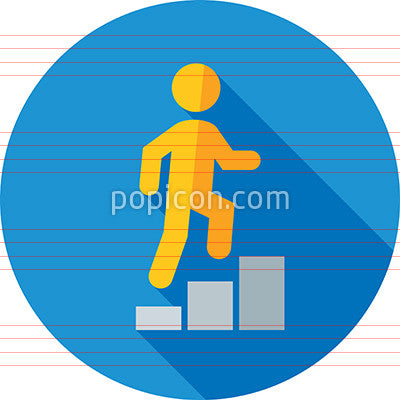 Man Climbing Bar Graph Icon